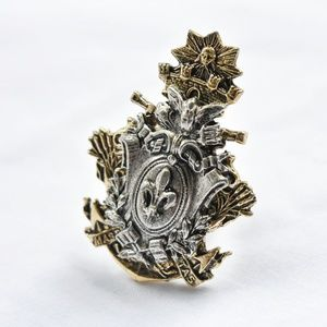 Vintage Art Nouveau French Gold and Silver Ring